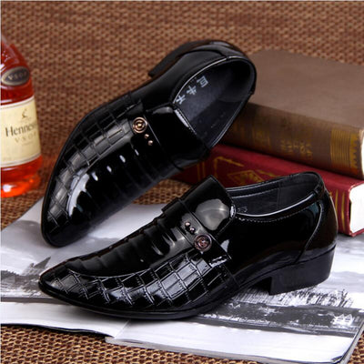 Mens pointed toe luxury Italian Patent Leather crocodile skin shoes