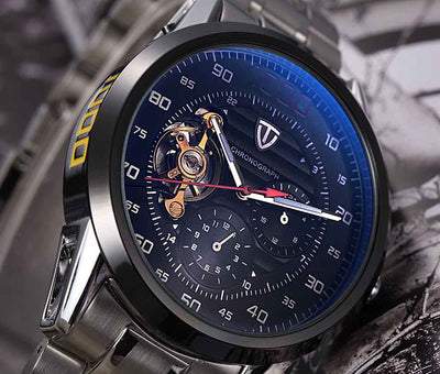 TEVISE Automatic Winding Tourbillon Mechanical Watch Sport Military
