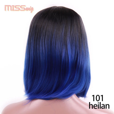 MISS WIG Bob Wig Short Synthetic Wigs For Women Blue Pink Colors Heat Resistant Straight Hair For Women