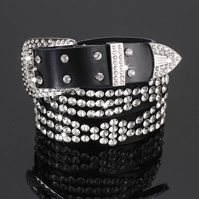Luxury Rhinestones Wide Belts Solid Cowhide Leather Belt For Women Fashion Leopard Bright Crystal Jeans Strap