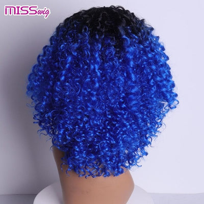 MISS WIG Long Black Ombre Red Wigs Kinky Curly Wigs for Black Women Synthetic Hair High Temperature