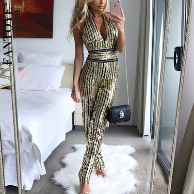 FANTOYE Golden Glitter V-Neck Sexy Skinny Backless Bodycon Jumpsuits Ladies Elegant Party Overalls