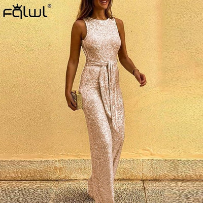 FQLWL Glitter Backless Ladies Long Wide Leg Bodycon Overall Sashes Black Pink Sexy Rompers Jumpsuit