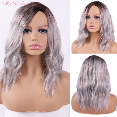 MISS WIG Black Ombre Blonde Color Afro Kinky Curly Wigs For Black Women Synthetic African Fluffy Hair High Temperature Fiber