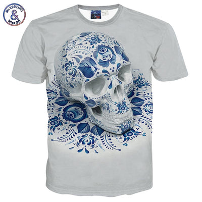 Mr.1991INC America Fashion Hip Hop summer tops 3d print skulls flowers tees shirts
