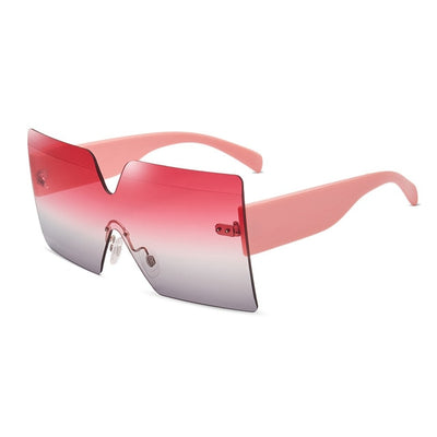 Onepiece Oversized Square Rimless Brand Designer Flat Top Big Sun Glasses