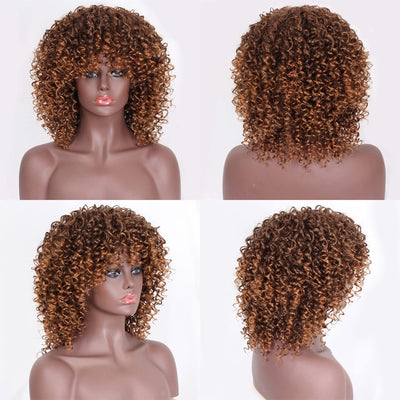 Stamped Glorious Afro Kinky Curly Wig With Bangs Synthetic Wig Mixed Ombre Grey and Black Wig for Women