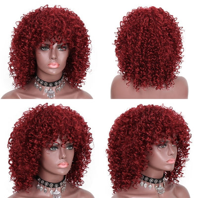 Stamped Glorious 14inches Afro Kinky Curly Wig With Bangs Synthetic Wig Mixed Black and Ombre Blonde Wig for Black Women