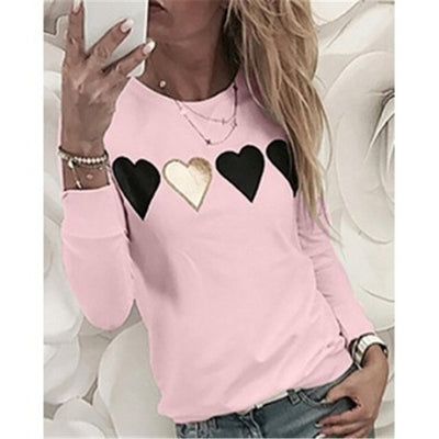 Umeko Solid Print love Heart O-Neck  Long Sleeve Blouse Plus Size