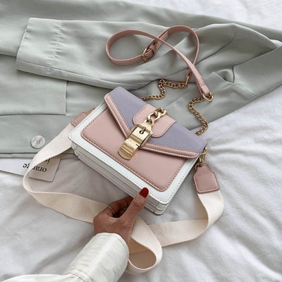 Female Shoulder Messenger Flap Bag Contrast color PU Leather Crossbody Bags for Women New Summer Ladies' Travel Small Handbag
