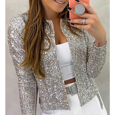 Sequin Jackets Glitter Long Sleeve Short Coats Elegant Outwear Office  Solid jacket