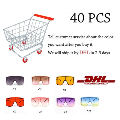 Oversized Blue Yellow Gradient Rimless Metal Shades Luxury Brand Designer Sunglasses