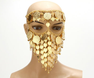 Lady Rhinestone Masquerade Face Jewelry Halloween Party Accessories Dance Nightclub Ornaments Head Chain Sexy Veils