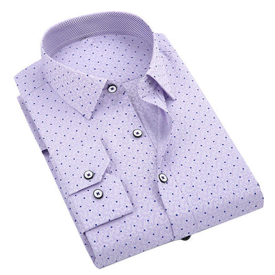 TANGNEST Polka Dot Long-sleeve Turn-down Collar Dress Shirts