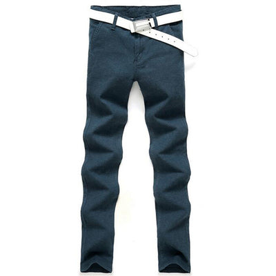 HEE GRAND Casual Style Pants Full Length Mid-waist Straight Slim Trousers