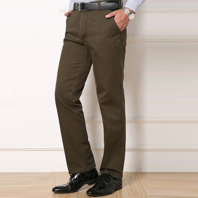 HEE GRAND Casual Thick Pants Full Length Warm Padded Mid-waist Straight Style