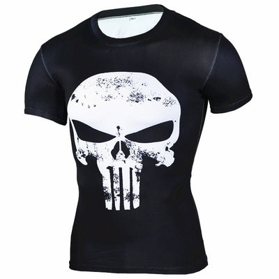 Fitness Compression Anime Superhero Punisher Skull Captain America 3D Cross fit