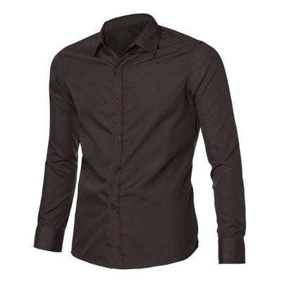 Chemise Homme Mens Shirt Long Sleeve Slim Fit Clothing