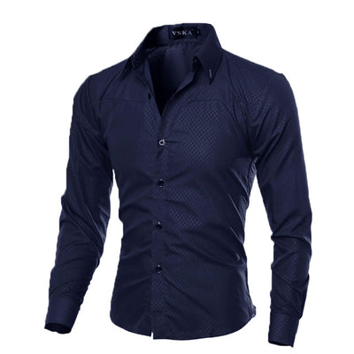Fashion Men's Luxury Casual Shirts Slim Fit Long Sleeve Button Tops