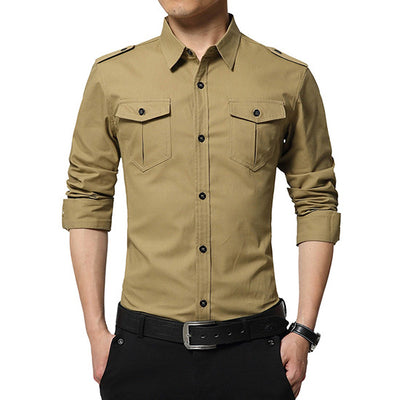 Military Style Men's Long Sleeved Cotton Shirt With Double Pocket