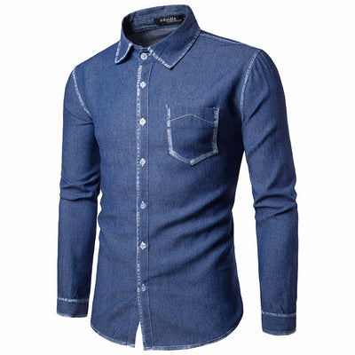 Casual Long Sleeve Shirt Business Slim Fit Shirt Cowboy Blouse