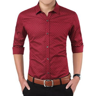 Men Clothes Slim Fit Men Long Sleeve Shirt