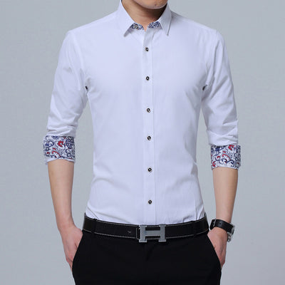 Mens Shirts Casual Slim Fit Korean Solid Square Collar White Long Sleeve Shirts