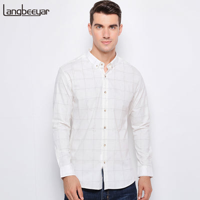 Top Grade Long Sleeve Autumn Slim Fit DP Casual White Plaid Shirt Men M-5XL