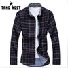 TANGNEST Single Breasted Spring Turn-down Collar Long-sleeved Casual Slim Dress Shirt