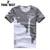 TANGNEST O-Neck Slim Comfortable Short Sleeve T-shirt Milk Print Slim t shirt