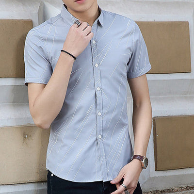 TANGNEST  Single Breasted Turn-down Collar Shirts Men Asian Size M-3XL