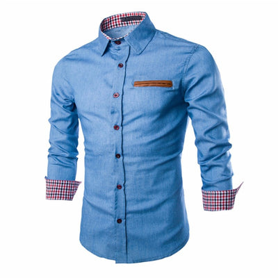 Autumn Spring Shirts Shirt Long Sleeve Lapel Collar Casual Slim Fit