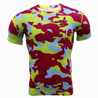 Summer Camouflage Compression Shirt Fitness Camo Bodybuilding Crossfit Tights T-shirt