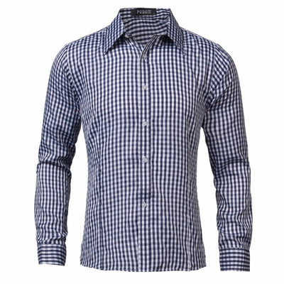 Men Long Sleeve Shirt Casual High Quality Formal Business Office Plaid