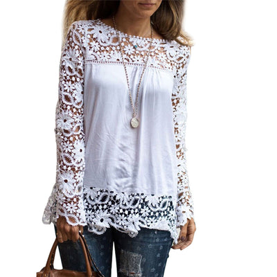 Patchwork White Lace Summer Long Sleeve Ladies Oversize Blouse Plus Size