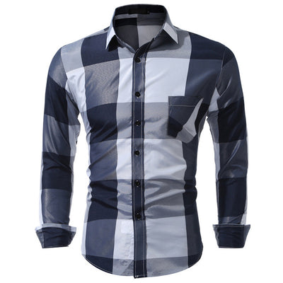 Casual Plaid Long Sleeve Slim Fit Patchwork Shirts Plus Size XXXL