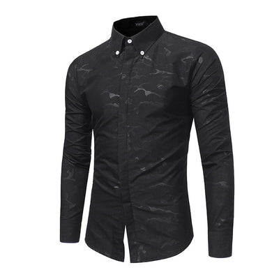 Casual Print Long Sleeve Slim Fit Shirts