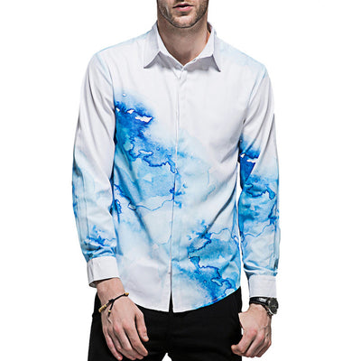 Casual Printed Long Sleeve Shirt Slim Fit Male 3D Printing Shirts