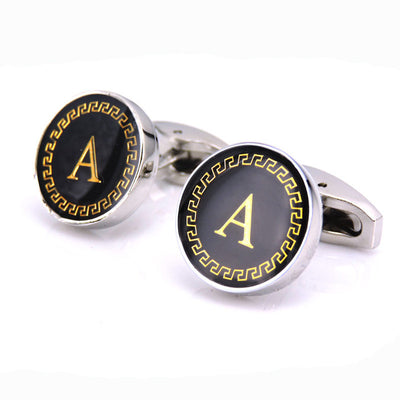 Cuff Links Gold letter A-Z Cuff Link CUSTOM Cuff links high quality button