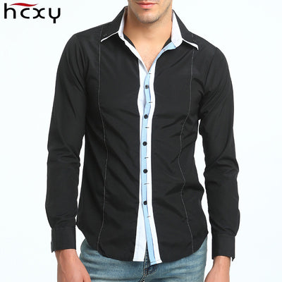 Men Patchwork Shirts Long Sleeve Slim Fit