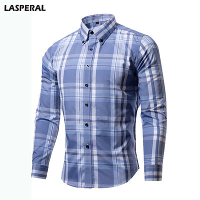 LASPERAL Plaid Long Sleeve Classic Business Shirts