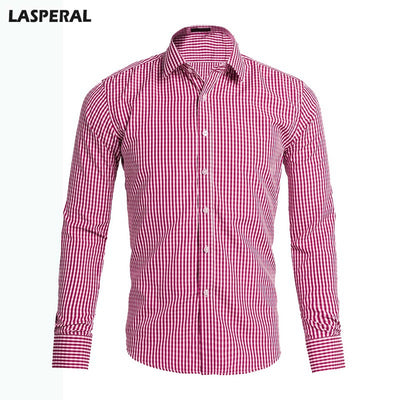 LASPERAL Casual Solid Striped Long Sleeved Classical Regular Shirt