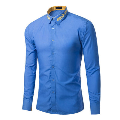 LASPERAL Long Sleeve Casual Stand Collar Solid Embroidery Patchwork Slim Fit Male Shirts