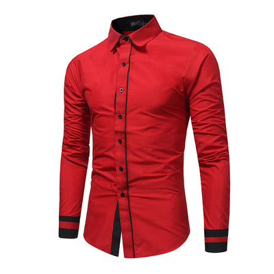 Spring Patchwork Long Sleeve Slim Fit Casual Cotton Men's Dress Shirt