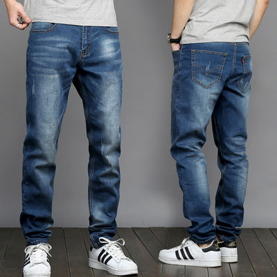 Thin New Men's Fashion Jeans Business Casual Stretch Slim Straight Jeans