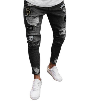 Fashion Slim Biker Zipper Denim Jeans Skinny Frayed Pants