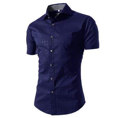 LASPERAL Casual Short Sleeve Plaid Summer Slim Fit Brand Male Shirts
