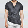 Summer Casual V Neck Short Sleeve Irregular Hem England Style Tops Slim Fit Tshirt L-3XL