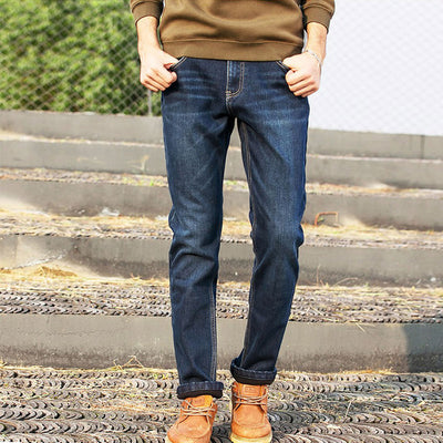 Pioneer Camp thick warm autumn winter fleece denim stretch dark blue black Jeans