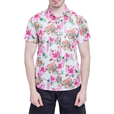 LASPERAL Print Short Sleeveless Slim Fit Hawaiian Casual Summer Shirt